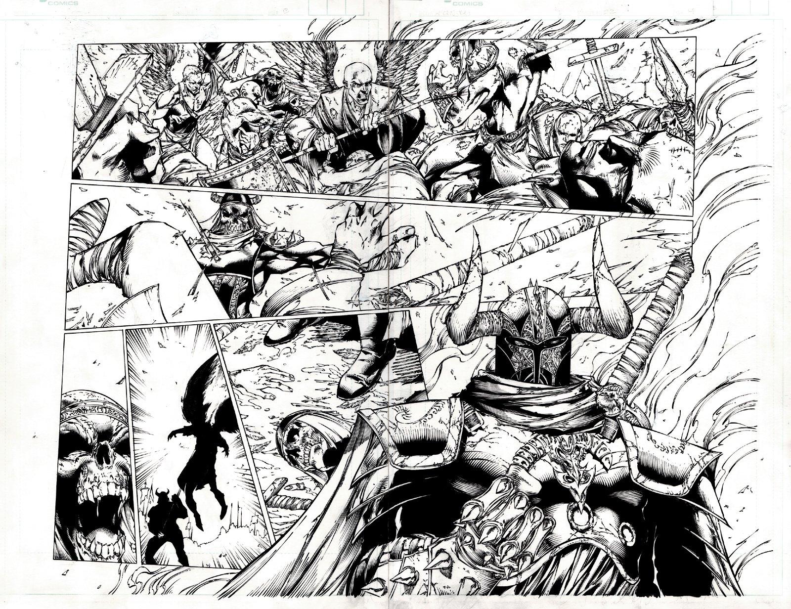 Ascencion #22 p 13-14 Double Spread (Battle Between Good & Evil!) 1999
