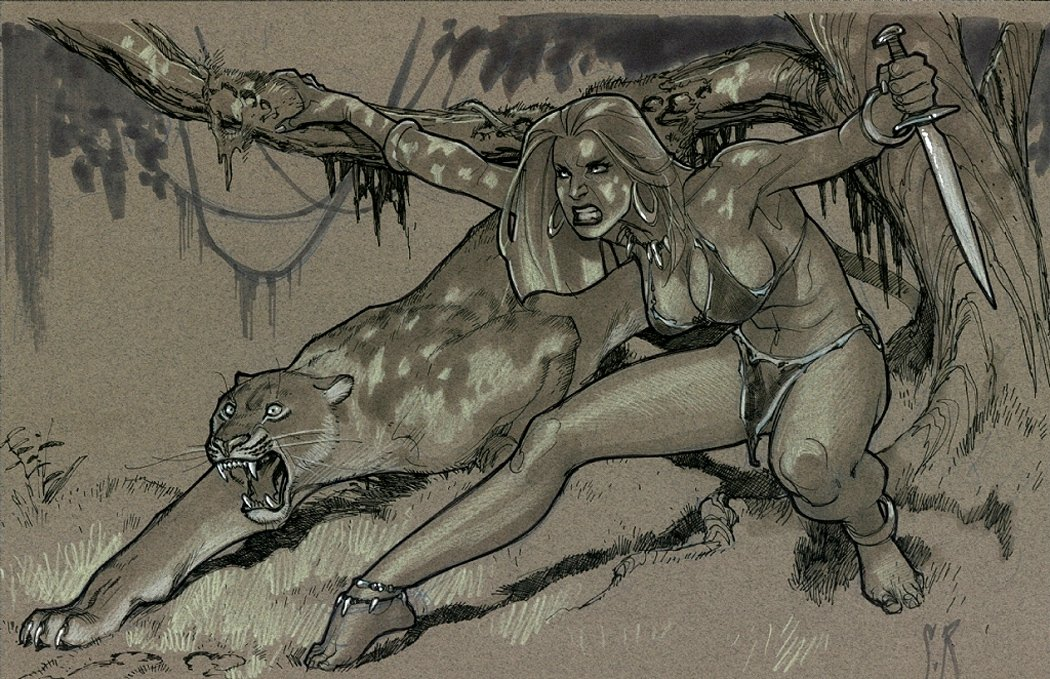 Jungle Girls Sketchbook Pinup