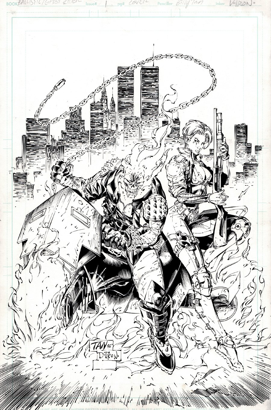 Ghost Rider / Ballistic #1 Cover (Superb first Issue Cover!) 1996