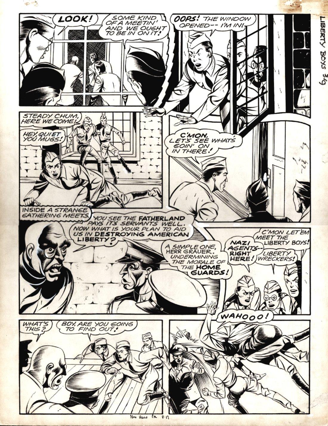 Hello Pal Comics #1 p 17 (GREAT GOLDEN AGE WORLD WAR 2 BATTLE PAGE!) Large Art - 1942