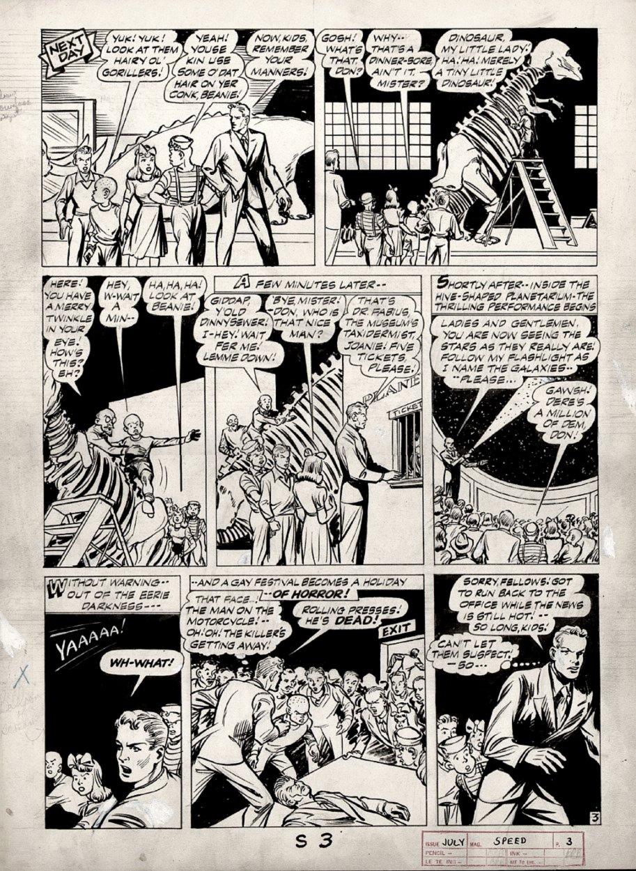 Speed Comics #33 p 3 (CAPTAIN FREEDOM STORY!) Large Art 1944