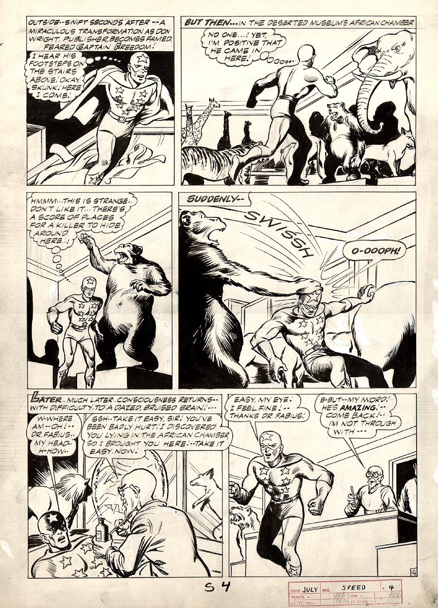 Speed Comics #33 p 4 (CAPTAIN FREEDOM STORY!) Large Art 1944