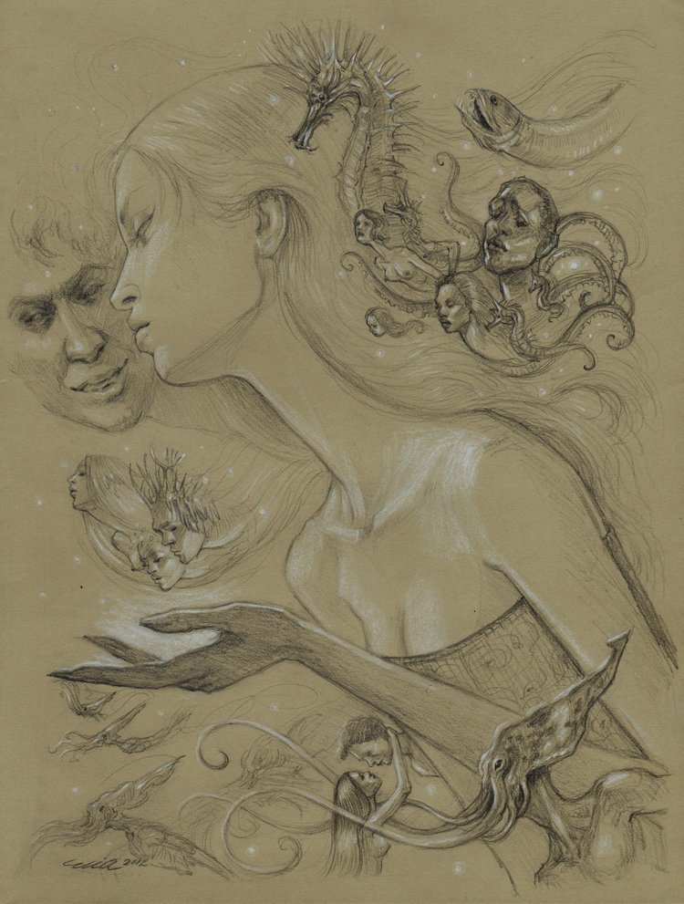 'Secrets of the Deep' Pencil Drawing