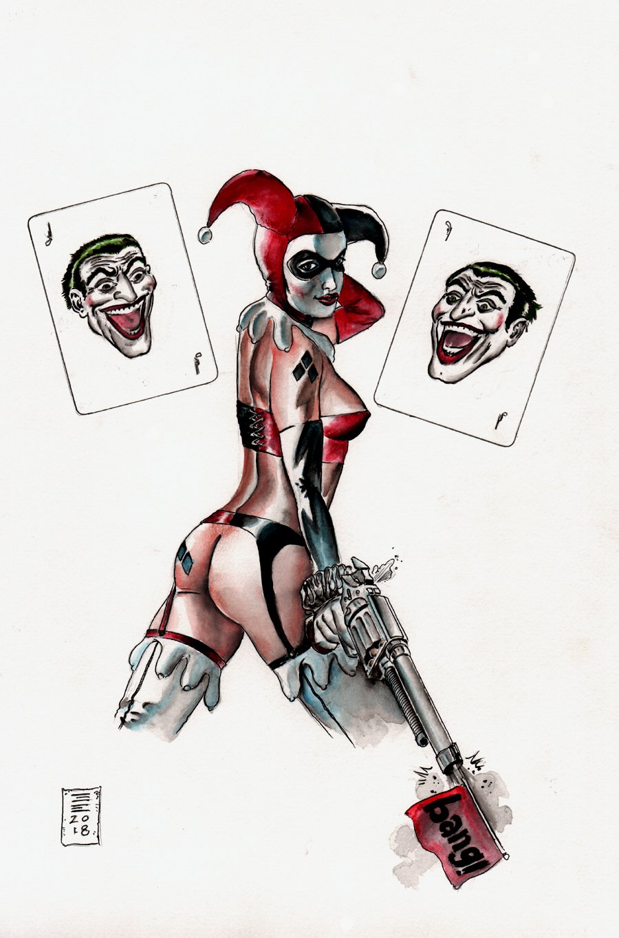 Harley Quinn / Joker Mixed Media Color Pinup (2018)