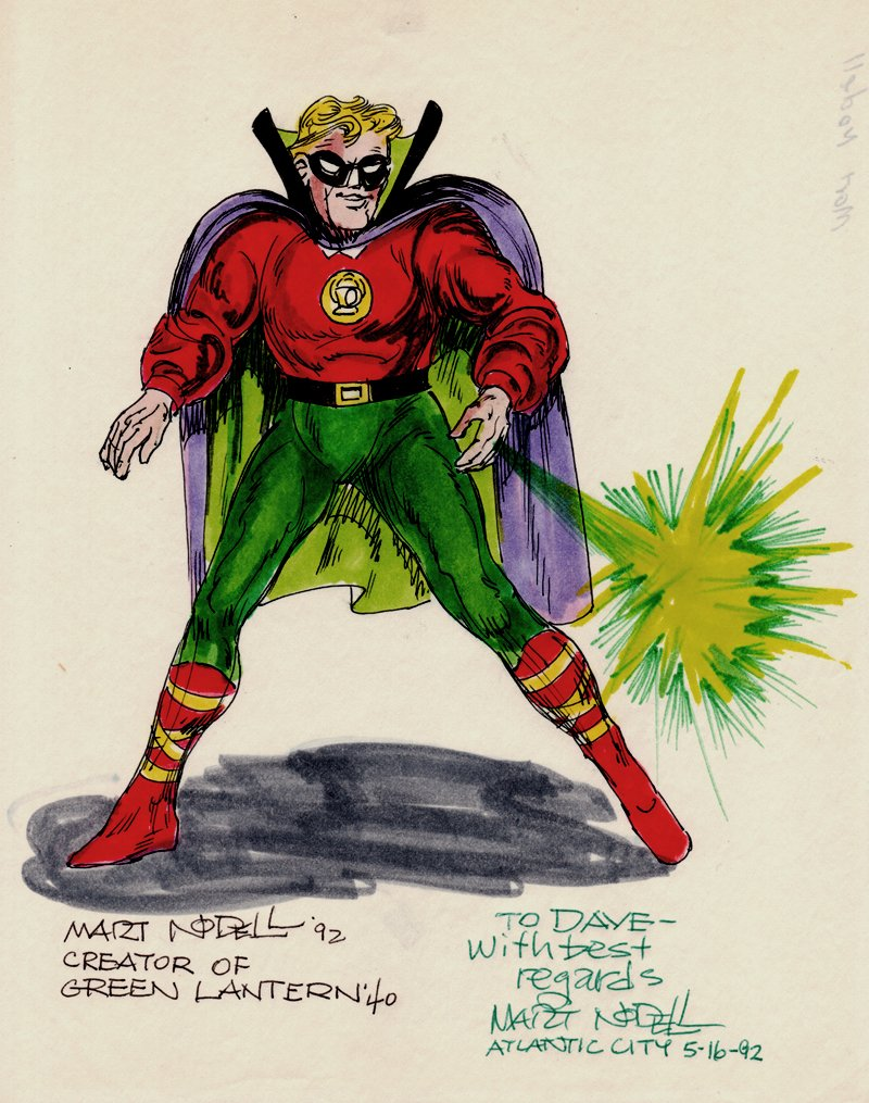 Golden Age Green Lantern Pinup (SOLD LIVE ON THE ROMITAMAN ART DROP PODCAST ON 10-9-2021(RE-WATCH THIS FUN ART SELLING SHOW HERE)