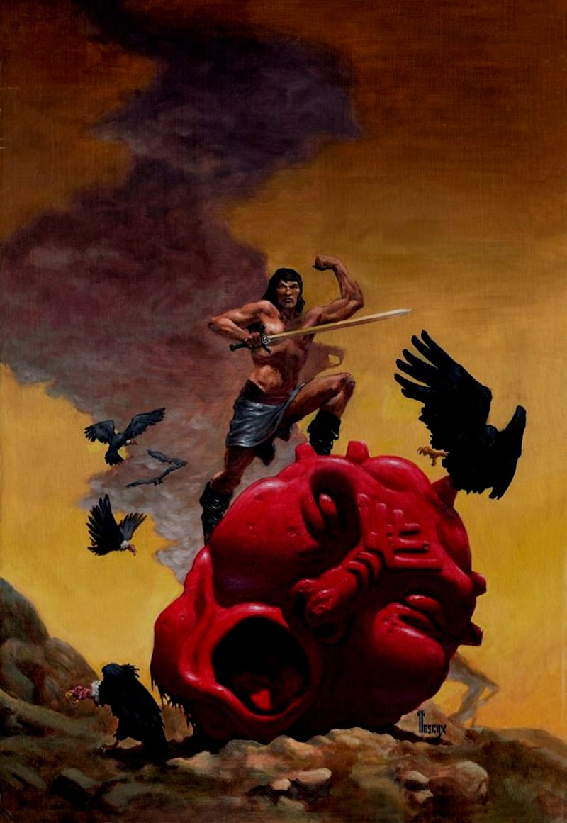 'The Pirate Of World's End' (Huge Conan-like Barbarian Published novel Cover Painting (1978)
