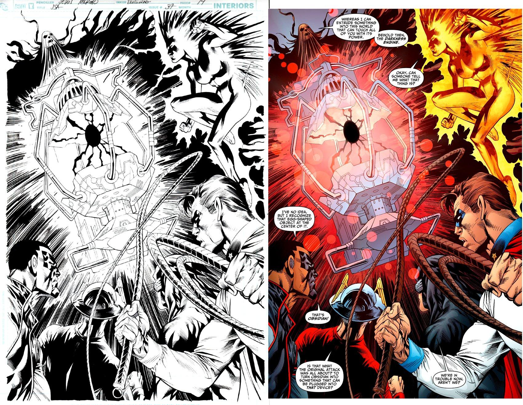 Justice Society of America #37 p 14 Splash (Mr. Terrific; Golden age Flash, Mr. America, Wildcat, Lightning) 2010