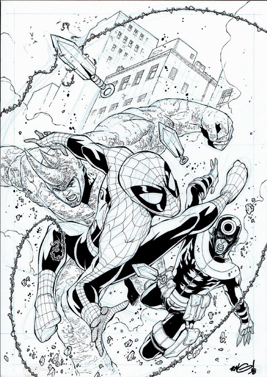 Spectacular Spider-Man #161 Cover (Spidey Battles Rhino & Bullseye!) 2007