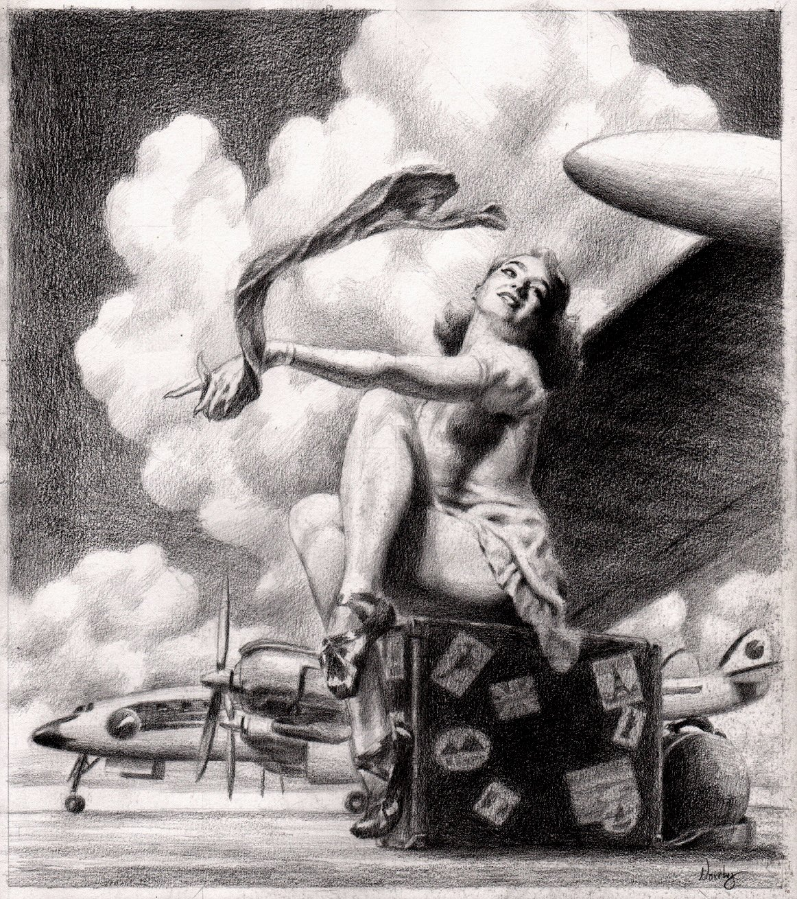 'Cotton Sky' Sexy WW2 Babe Homage Pinup