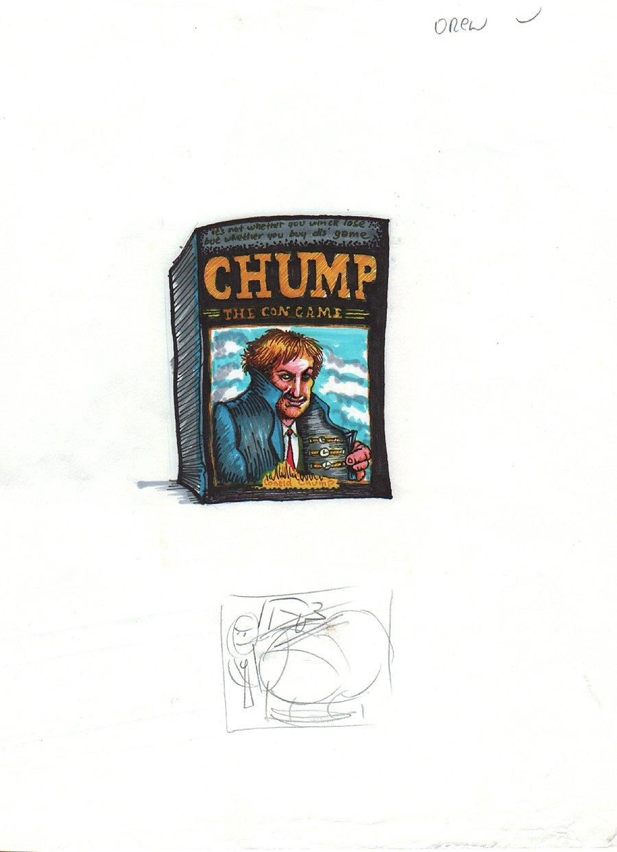 Wacky Package Art, Donald Trump (Conald Chump..LOL) 'The Con Game'  (1991)