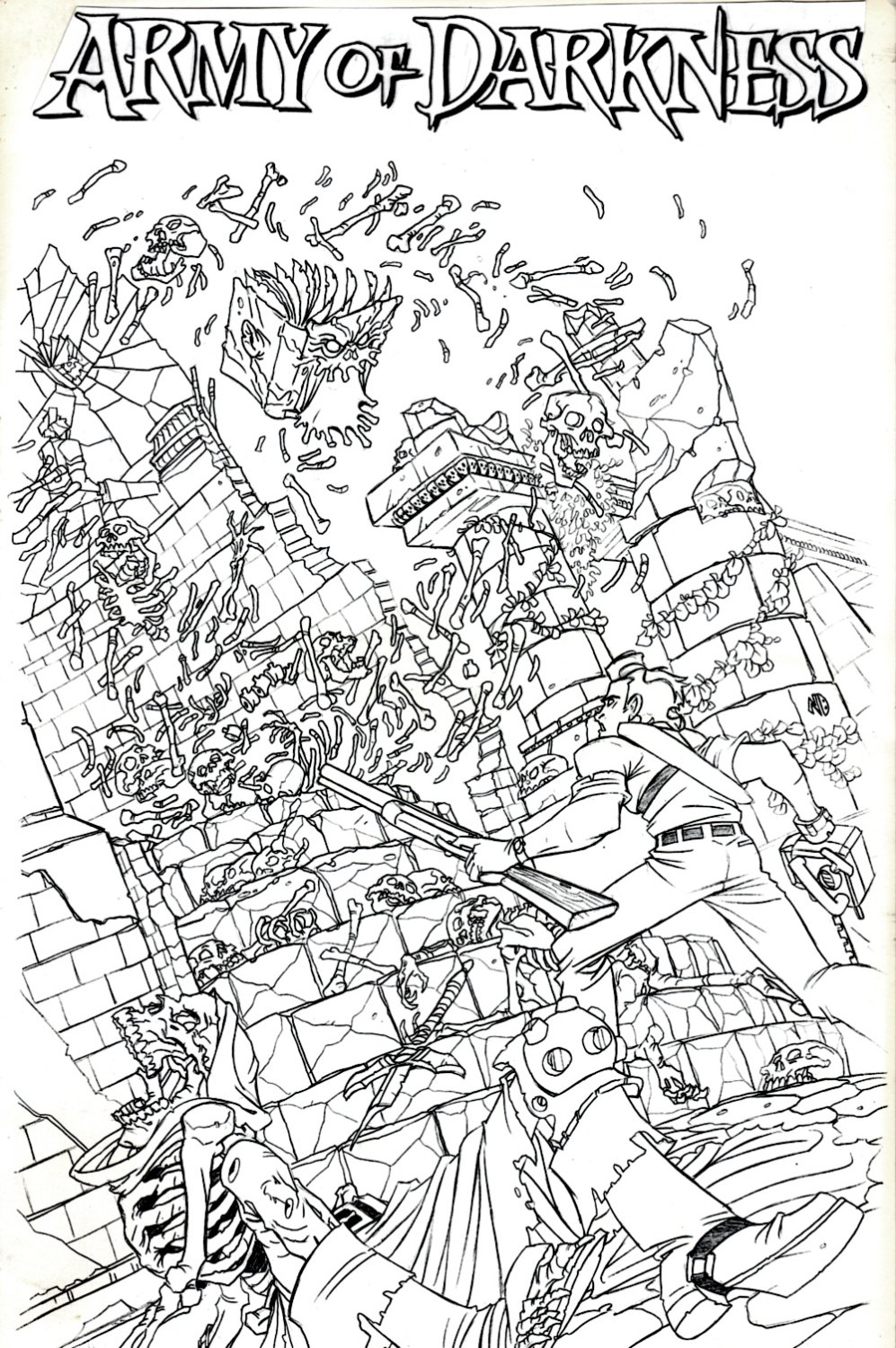 Army of Darkness #4 Unpublished Cover (ASH, ZOMBIES, SKELETONS, THE NECRONOMICON!)