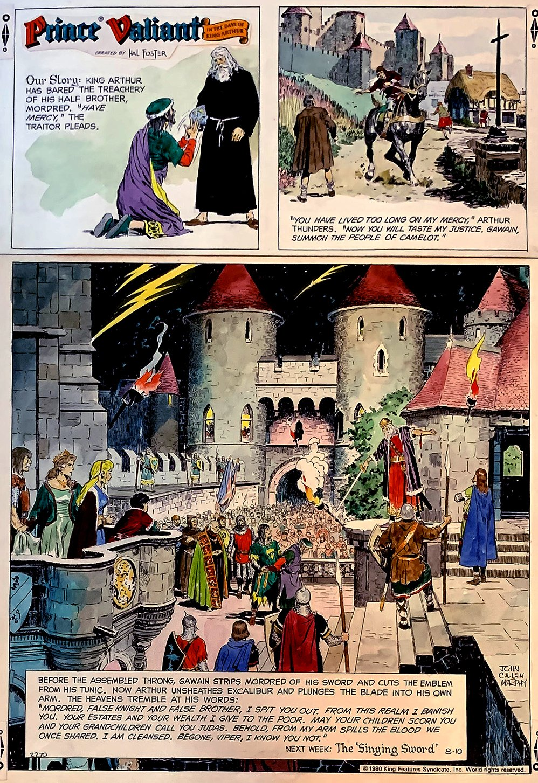 Prince Valiant HAND-COLORED Sunday Comic Strip 8-10-1980 (Very large)