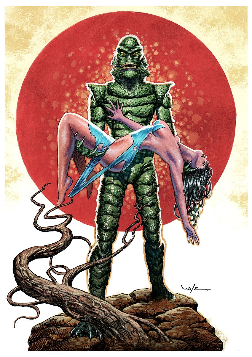 Creature from the Black Lagoon Mixed Media Pinup