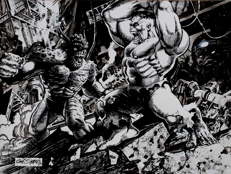 Hulk vs. Abomination Large Super detailed Illustration