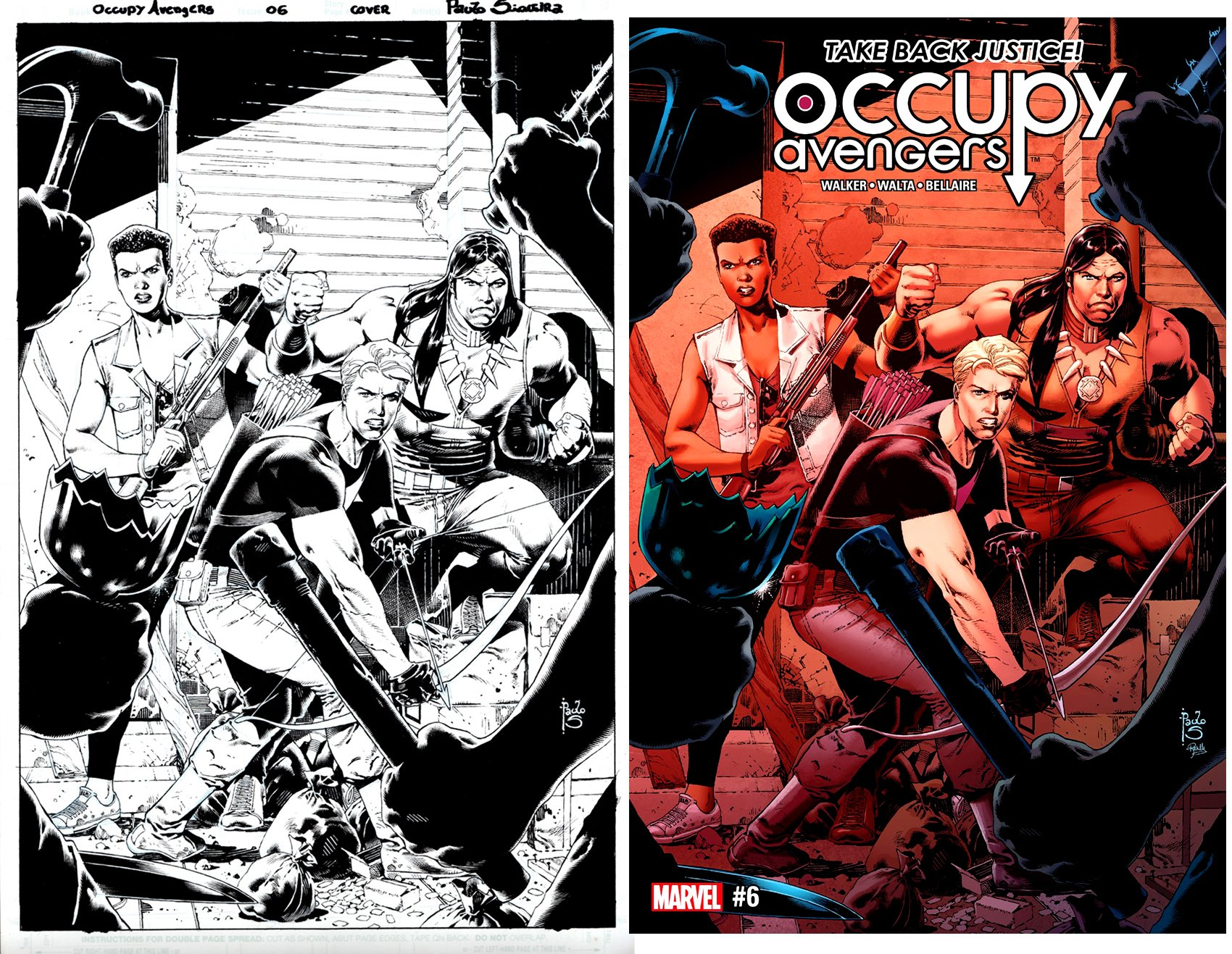 Occupy Avengers #6 Cover (Hawkeye, Red Wolf, Nightshade!) 2017)