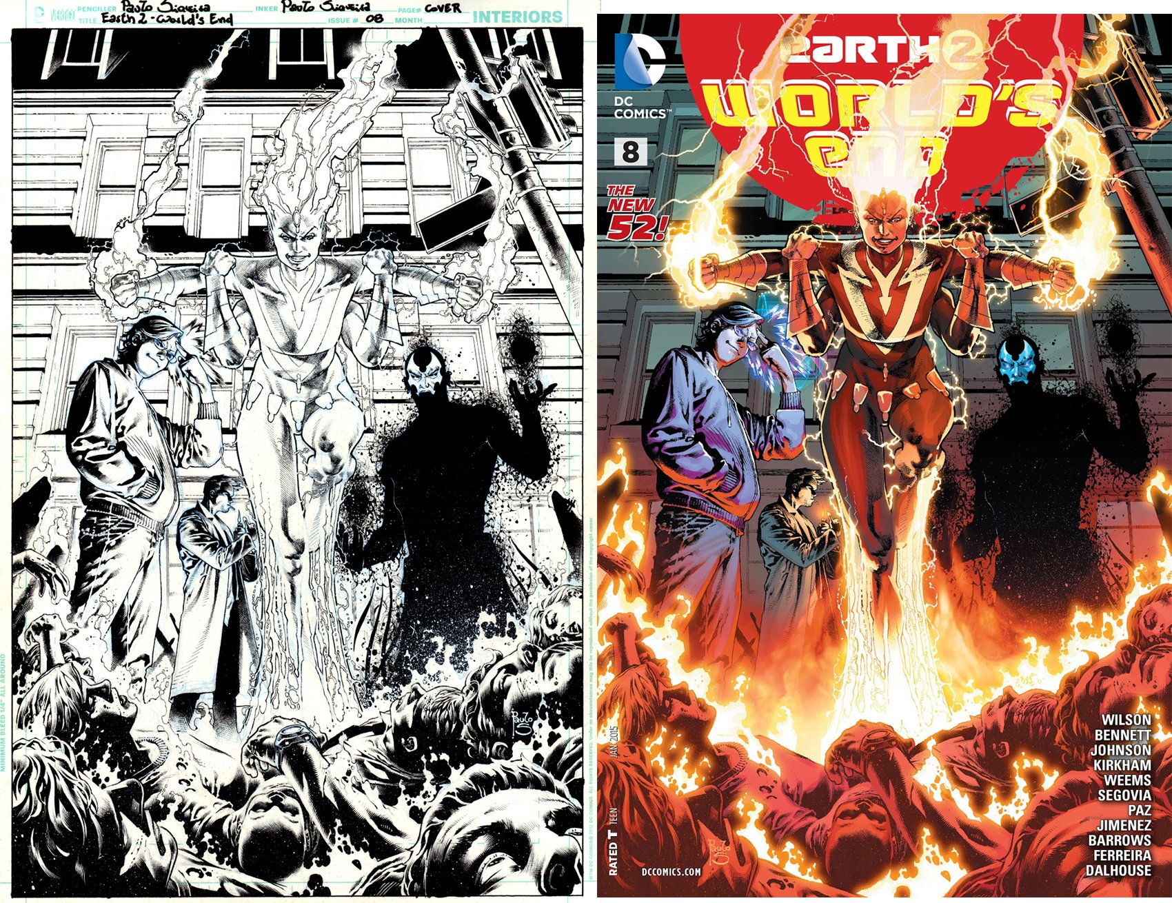 Earth 2 World's End #8 Cover (Jonni Thunder; Brainwave; Obsidian; Smoking John Constantine!) 2014