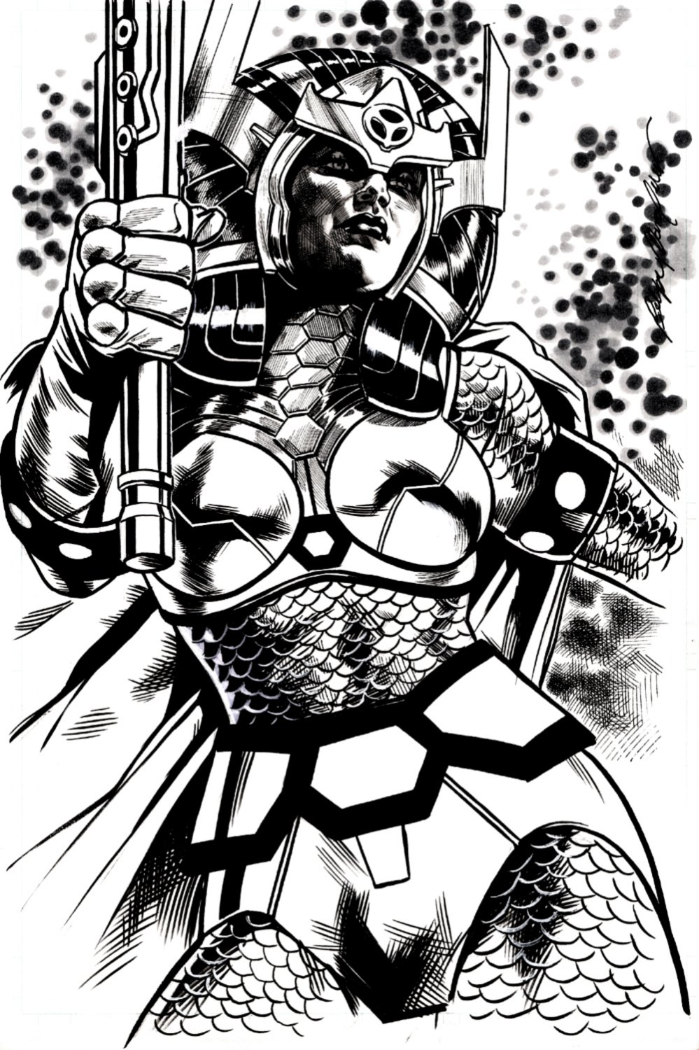 Big Barda Illustration (SOLD LIVE ON 'DUELING DEALERS OF COMIC ART' EPISODE #33 PODCAST ON 8-25-2021(RE-WATCH THIS FUNNY ART SELLING SHOW HERE)