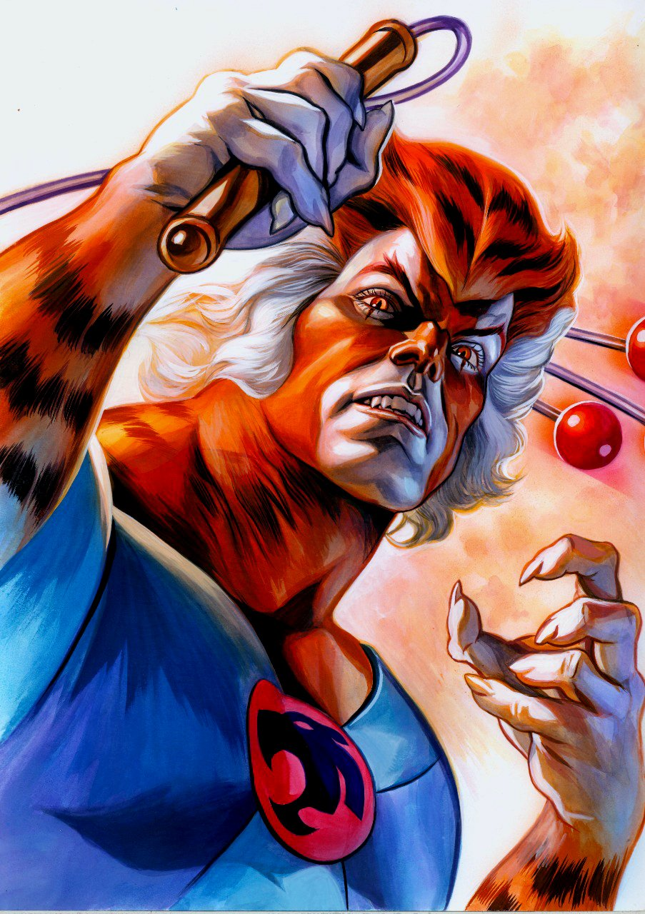 THUNDERCATS TYGRA Large Painting (SOLD LIVE ON THE ROMITAMAN ART DROP PODCAST: 8-28-2021 (RE-WATCH THIS ART SELLING SHOW HERE)