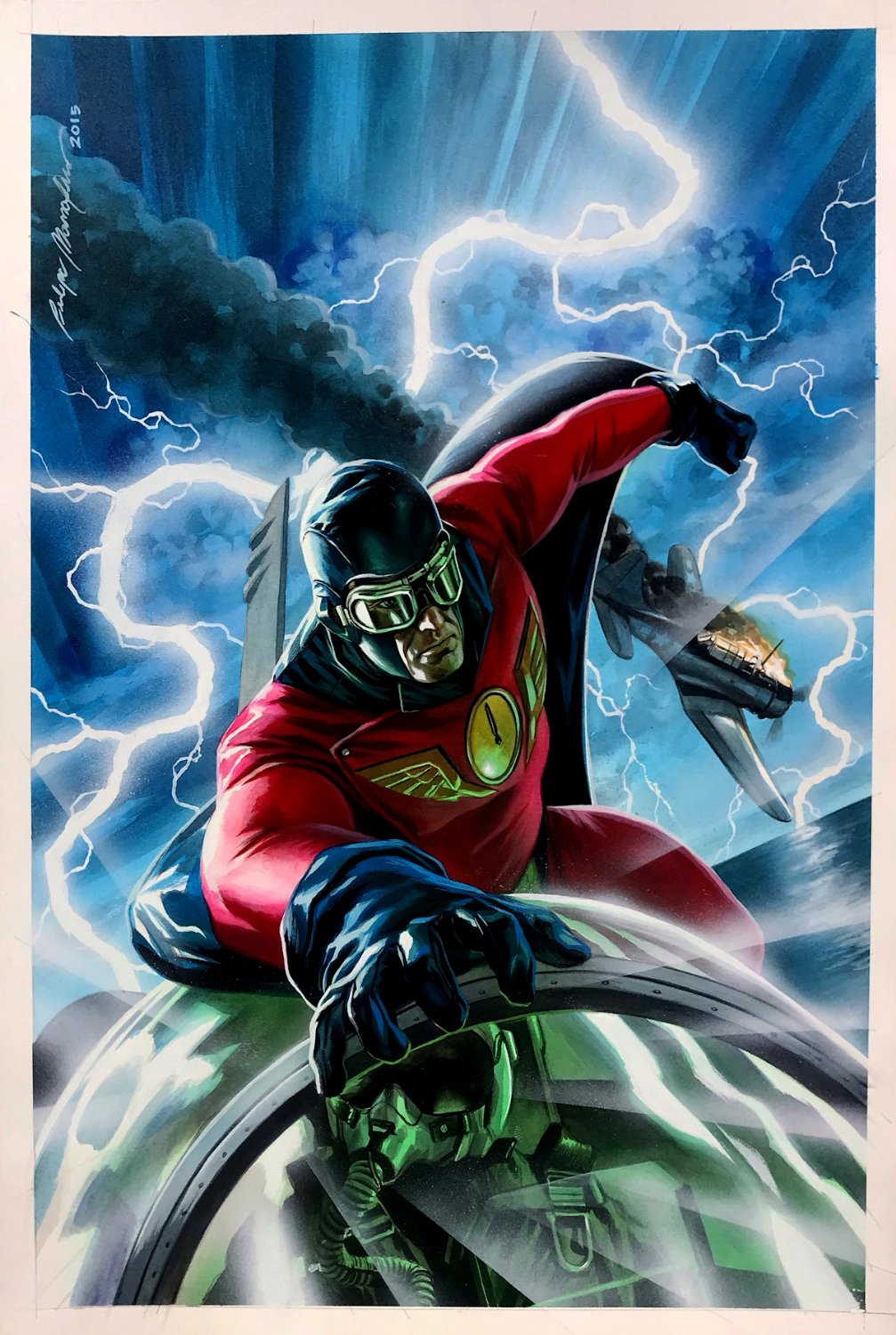 Captain Midnight #1 Cover Painting (STUNNING DETAILED GOLDEN AGE SUPERHERO!) 2013