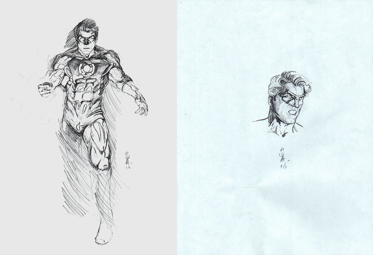 2 Green Lantern Pencil drawings on 2 Separate Boards (2016)