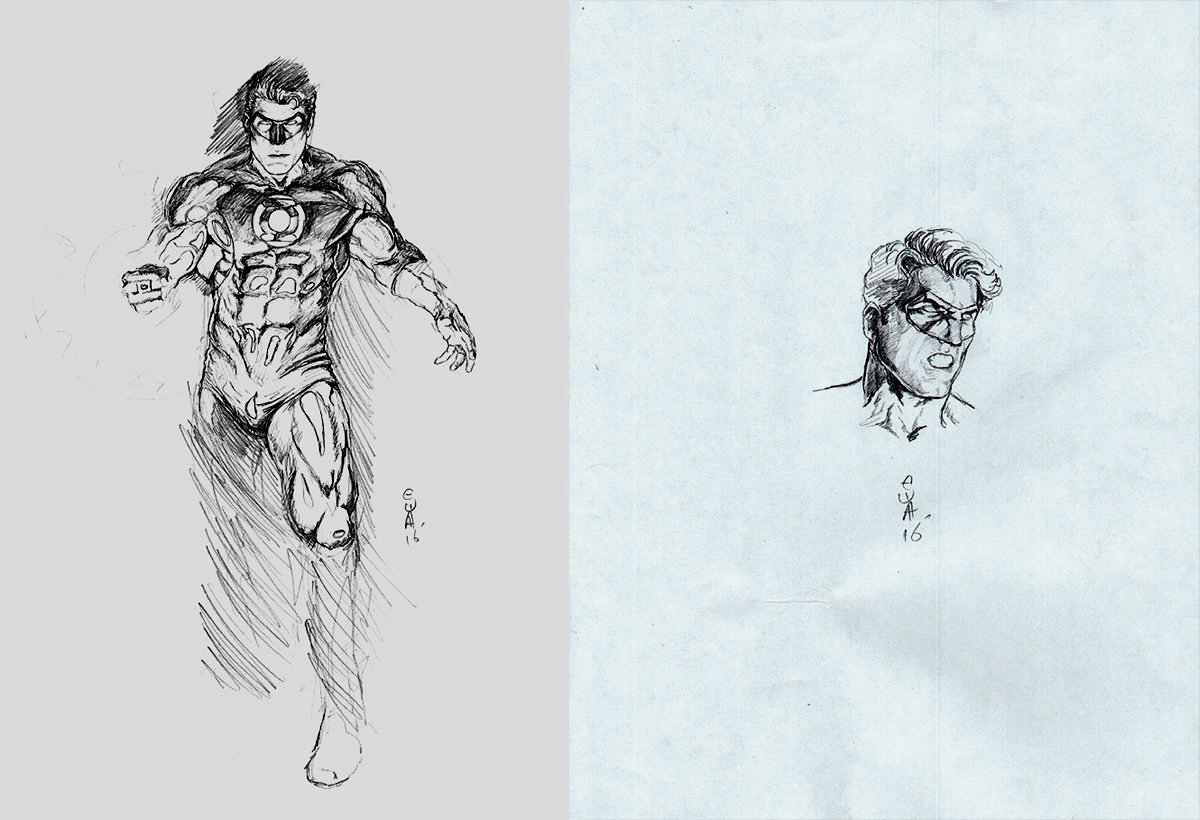 2 Green Lantern Pencil drawings on 2 Separate Boards (2016)