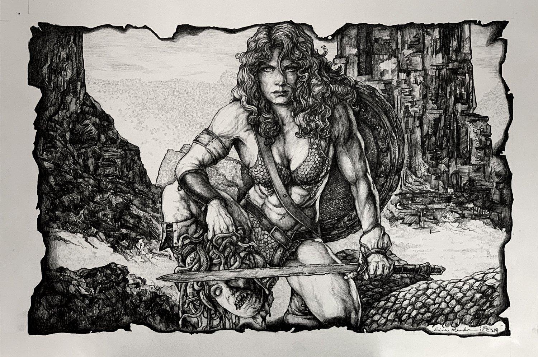 Red Sonja Slays MEDUSA Pinup (Large Art) 2019