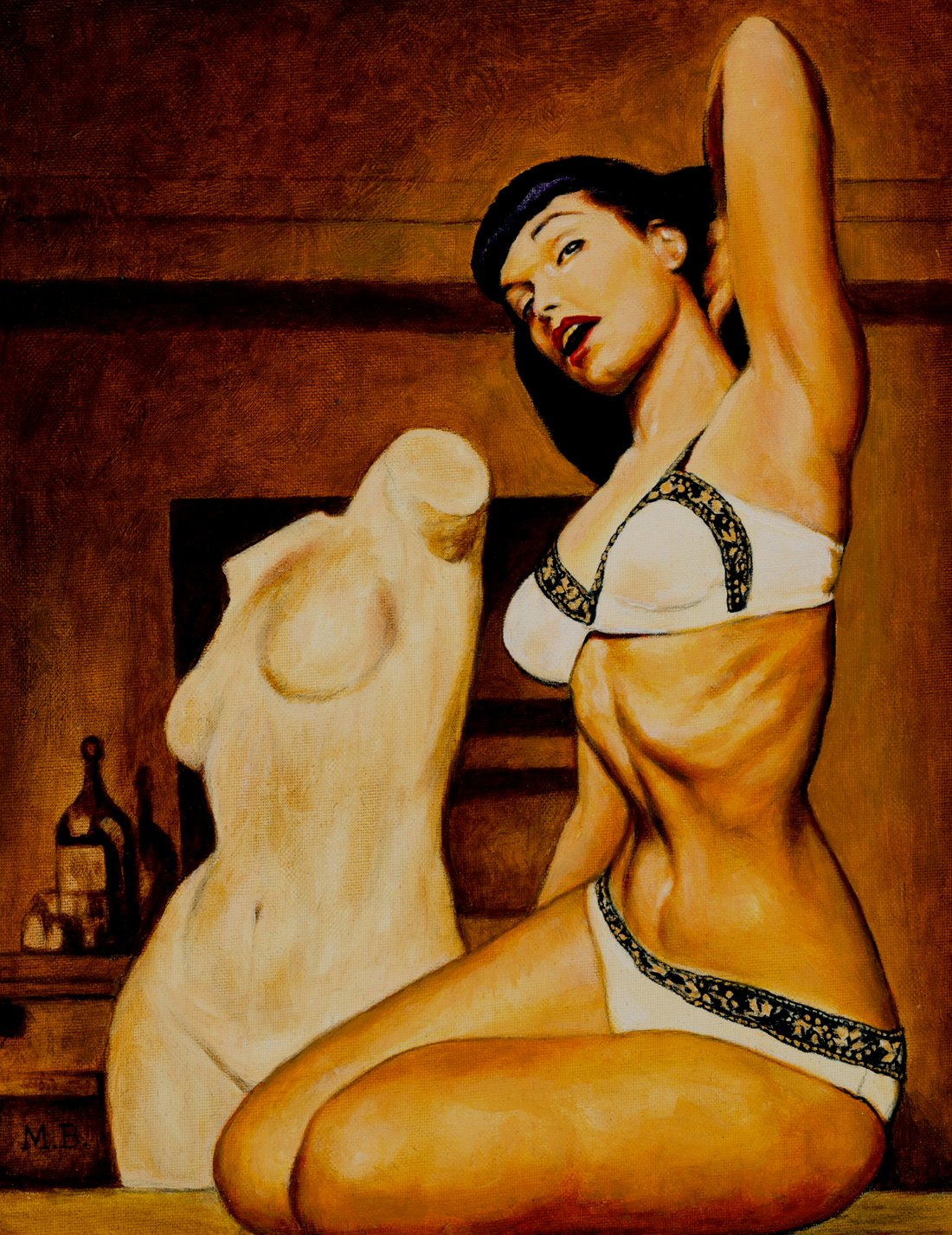 Bettie Page Large Life-Like Painting (1980s)