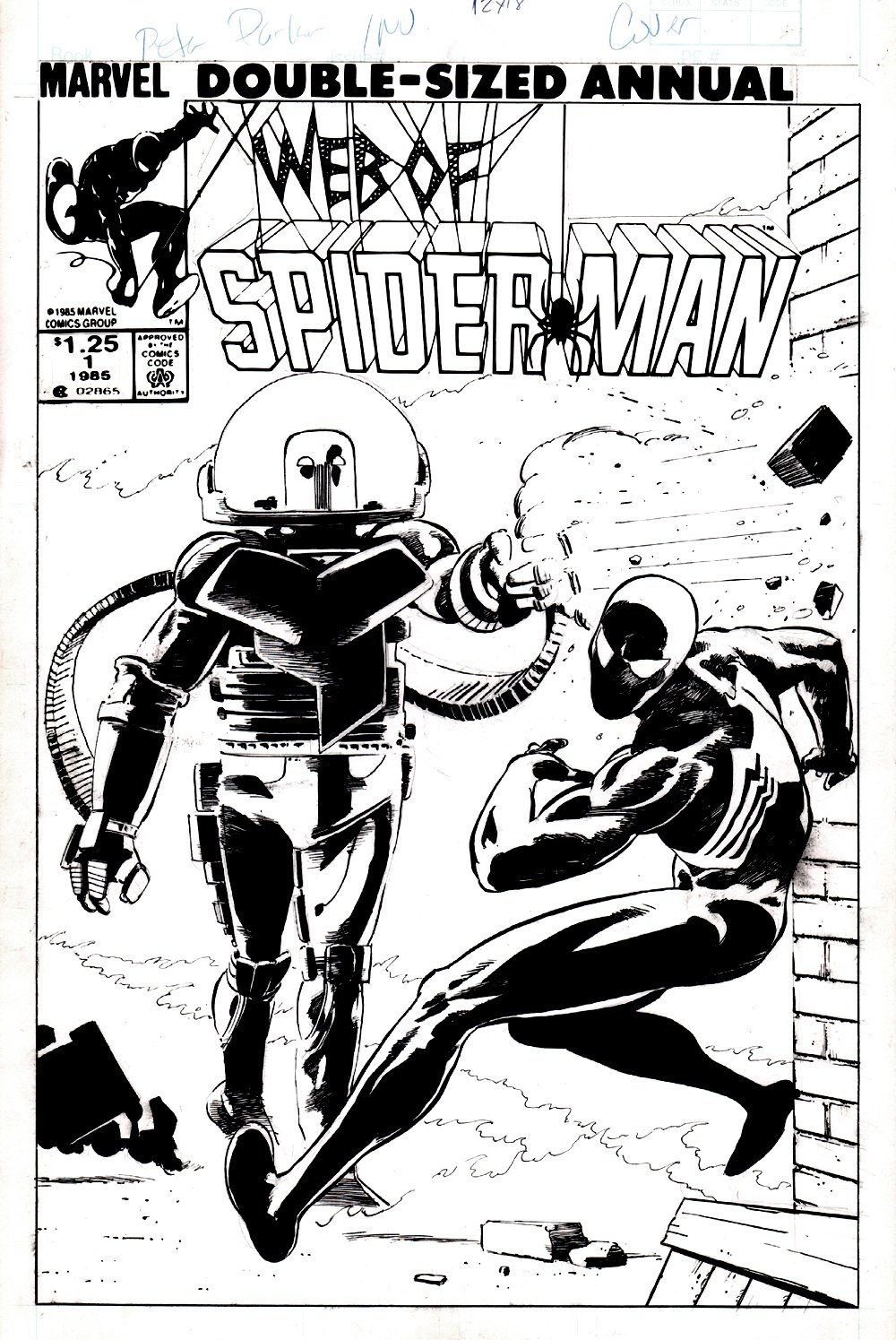 Web of Spider-Man Annual #1 Unpublished Cover (VERY EARLY BLACK SPIDER-MAN COVER!) 1985