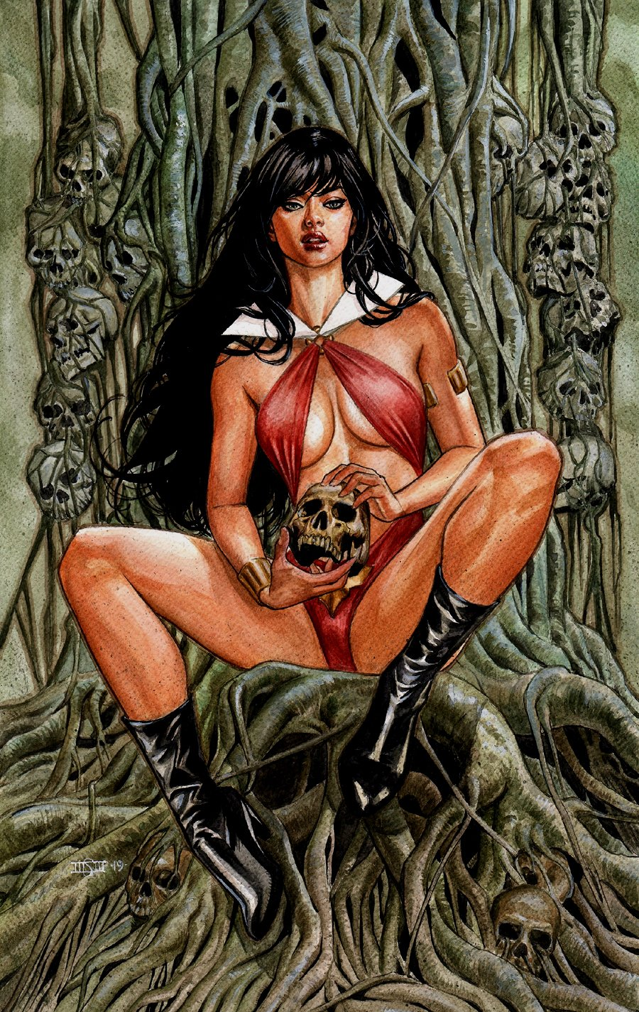 Vampirella Colorful Mixed Media Pinup