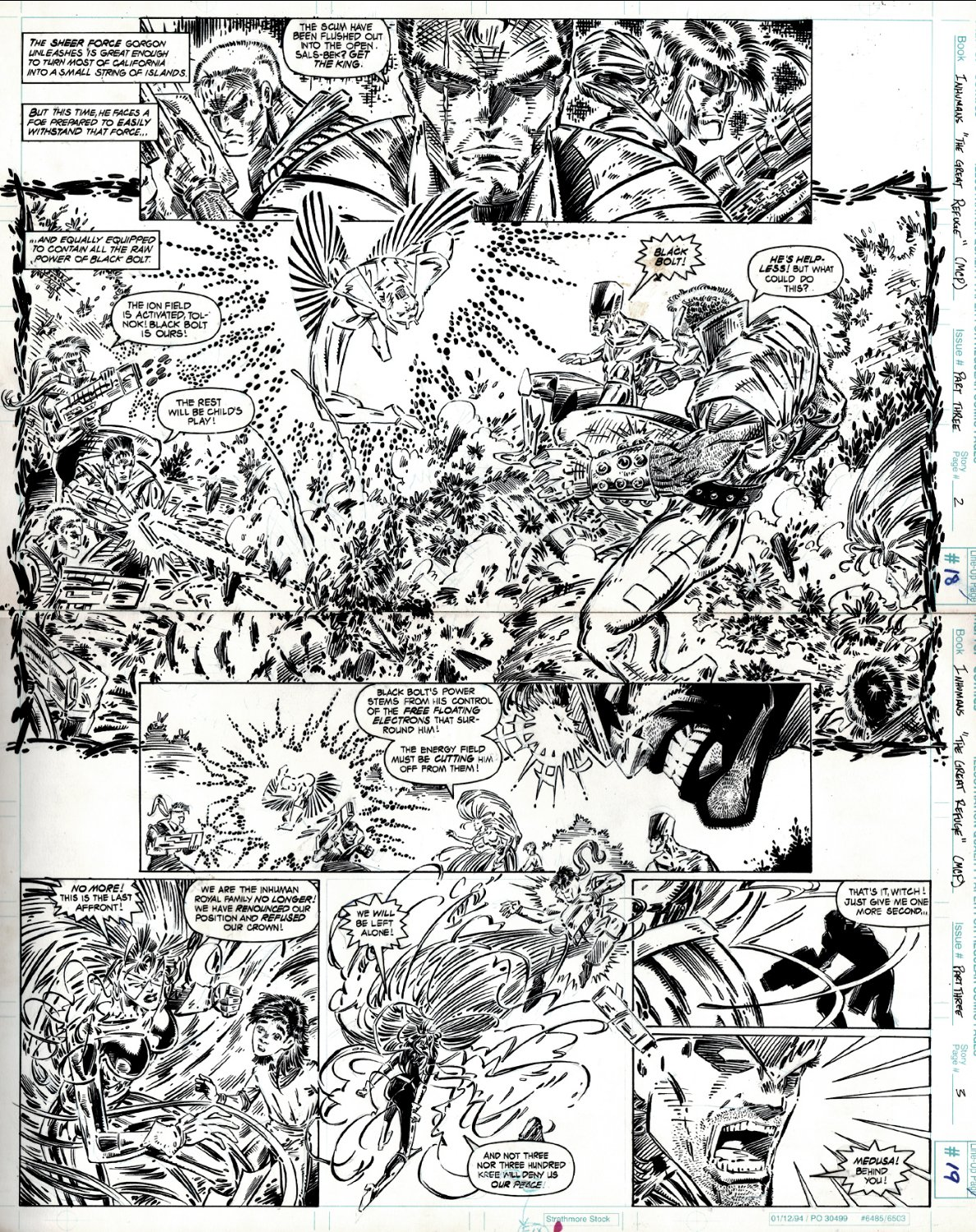 Inhumans: The Great Refuge #1 p 18-19 Double Spread Splash (Black Bolt, Medusa Battling KREE!) 1995