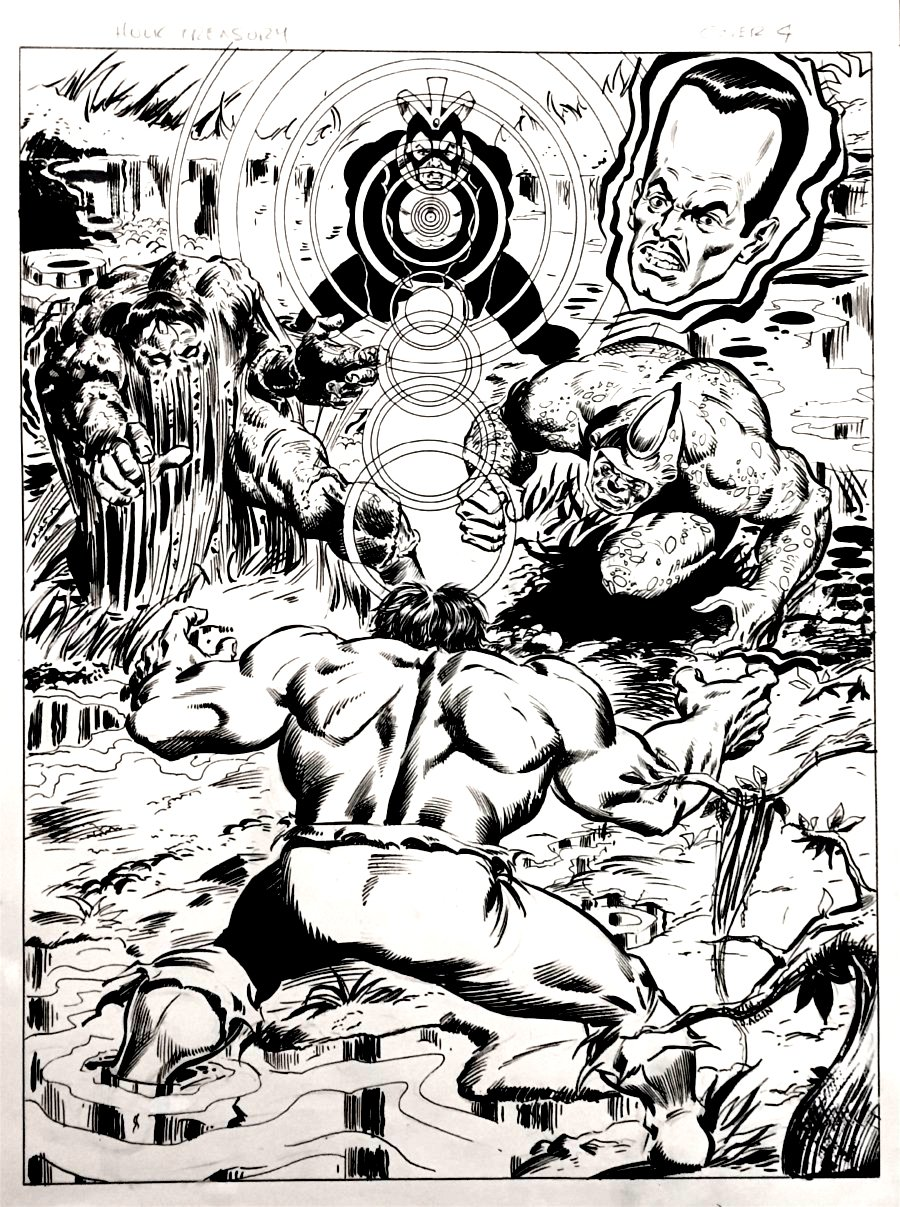 Marvel Treasury Edition #17 Back Cover (HULK BATTLES GLOB, RHINO, LEADER, HAVOK!) Very Large -1978