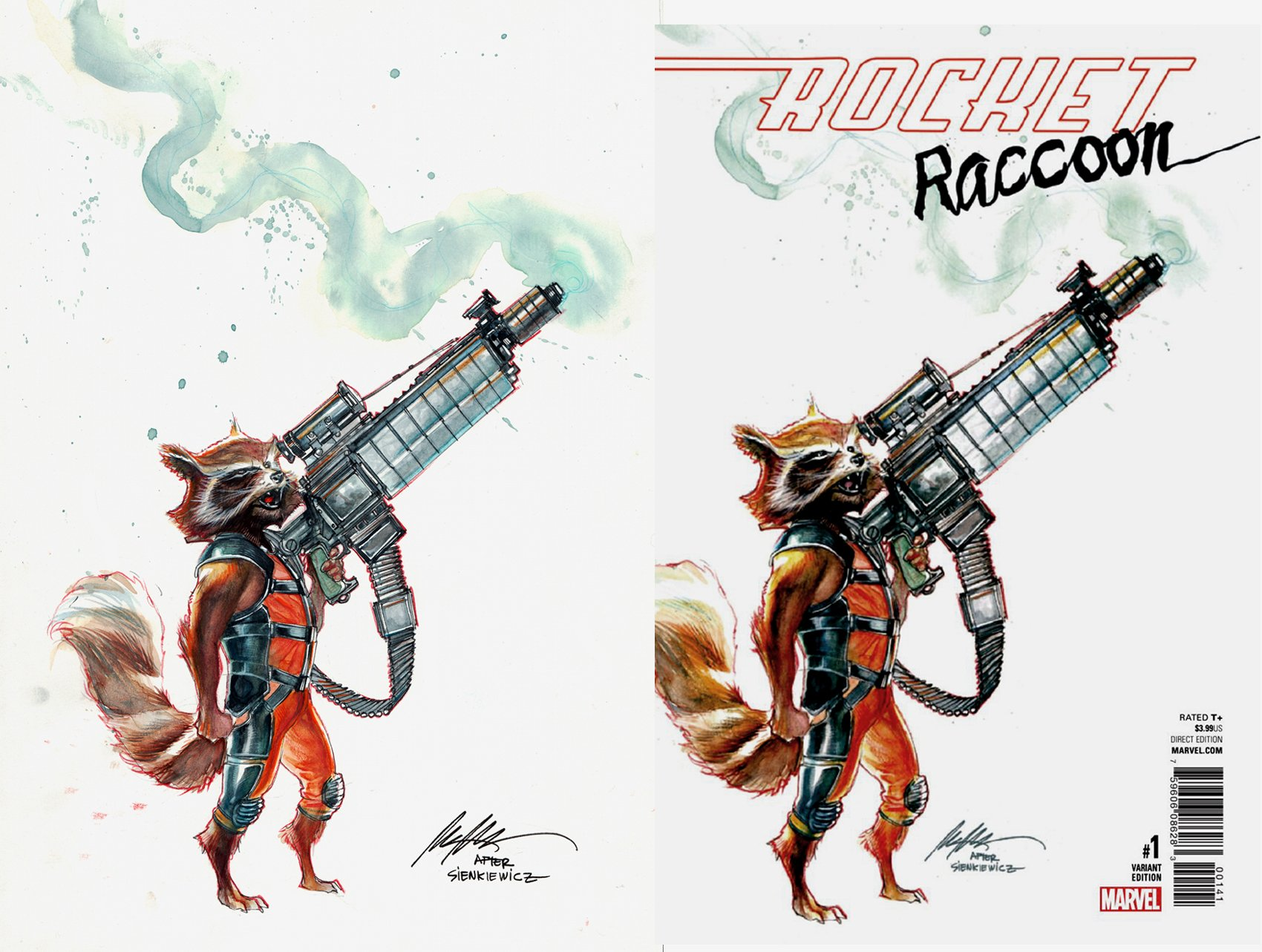 Rocket Raccoon #1 Cover (SOLD LIVE ON 'DUELING DEALERS OF COMIC ART' EPISODE #10 PODCAST ON 3-31-2021 (RE-WATCH OUR LIVE ART SELLING PODCAST HERE!)