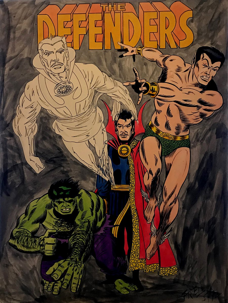 DEFENDERS Mixed Media Pinup (Large) 1972