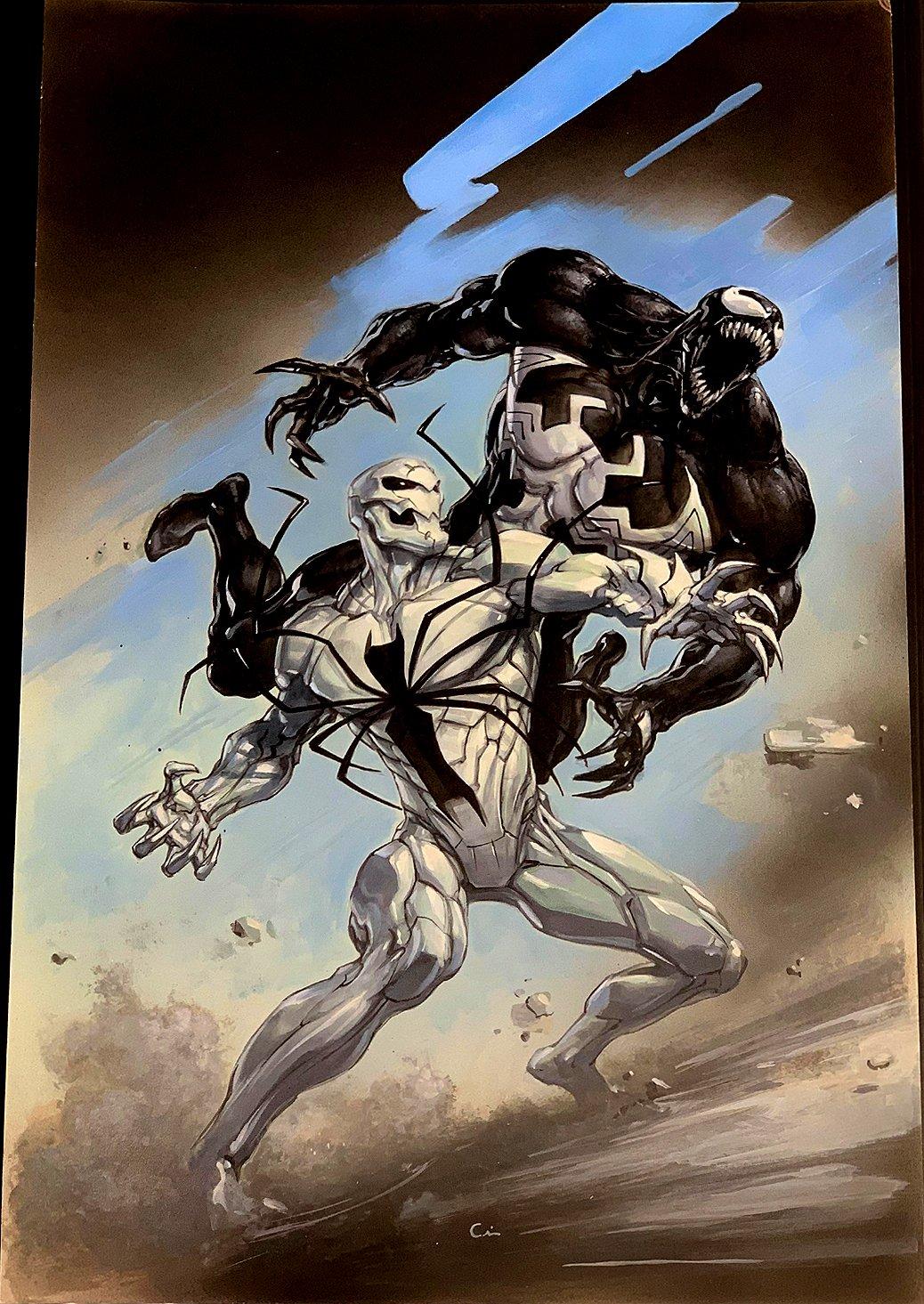 Venomverse #1 Large Cover Painting! (ASM #361 COVER HOMAGE! VENOM BATTLES POISON!) 2017