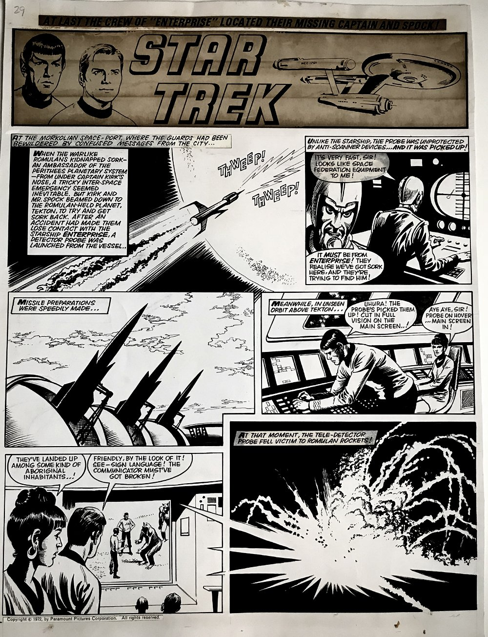 Star Trek Newspaper Strip (HUGE) 9-30-1972