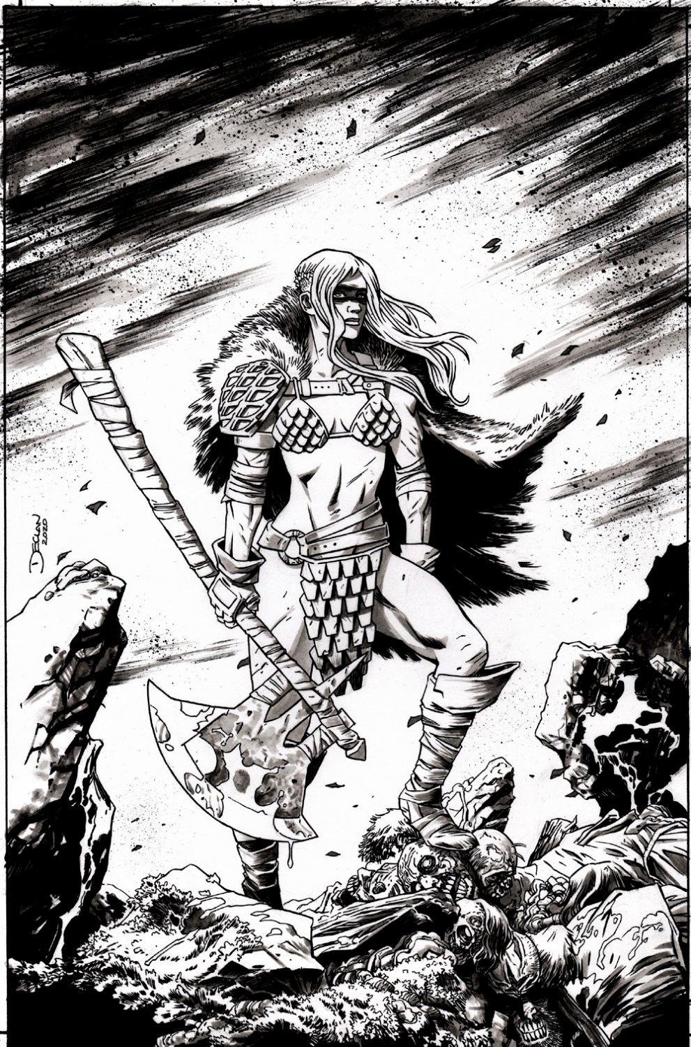 Die!namite #2 Cover (Red Sonja Stands Over Multiple Decapitated Heads & bodies!) 2020