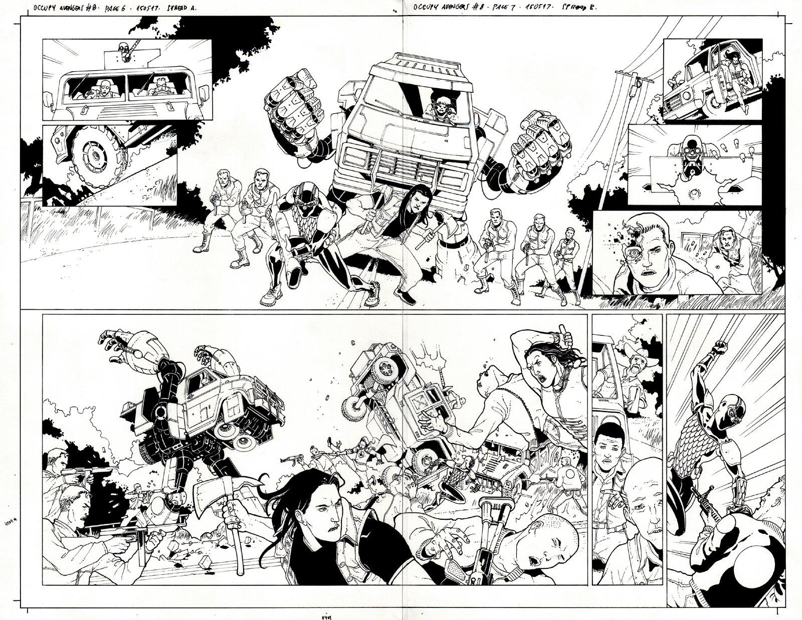 Occupy Avengers #8 p 6-7 Double Spread Splash