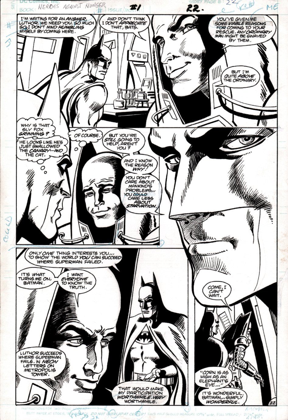 Heroes Against Hunger #1 p 22 ( BATMAN & LEX LUTHOR IN EVERY PANEL! JIM APARO INKS) 1986