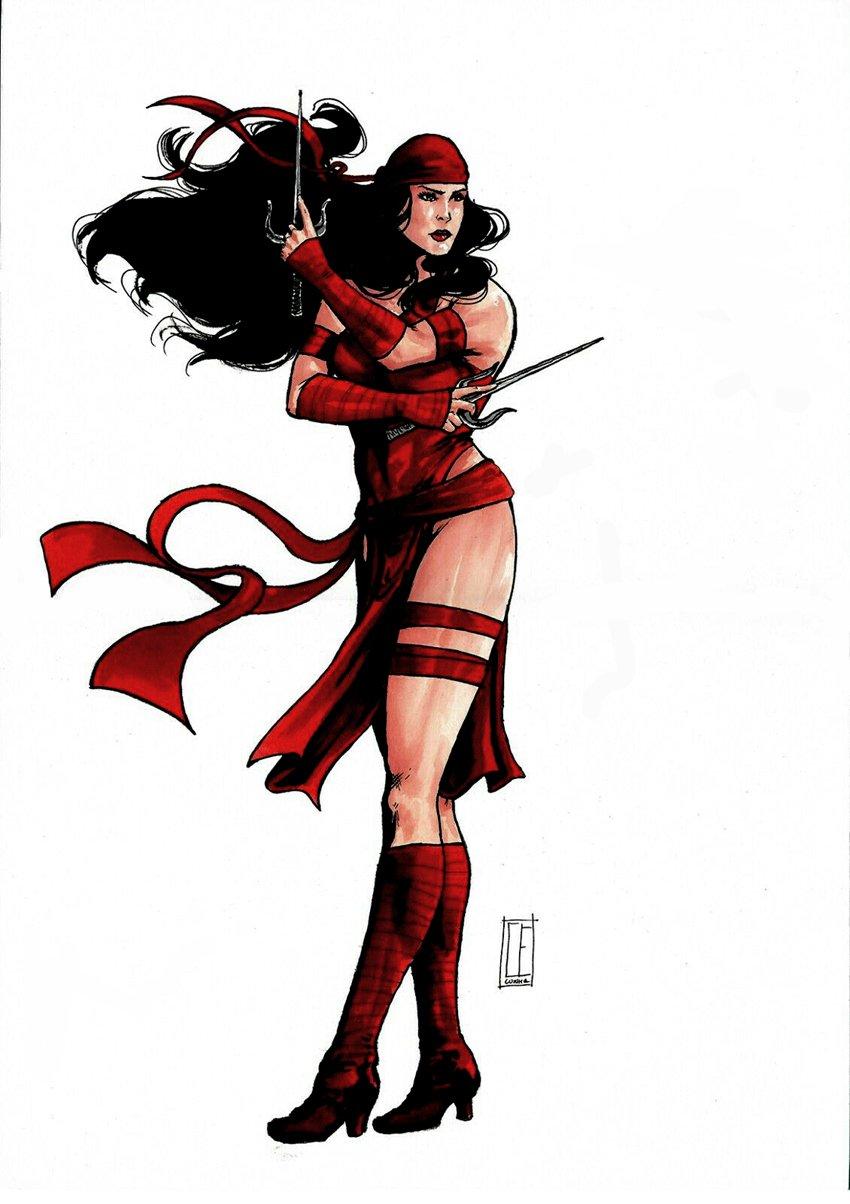 Elektra Sexy Mixed Media Pinup