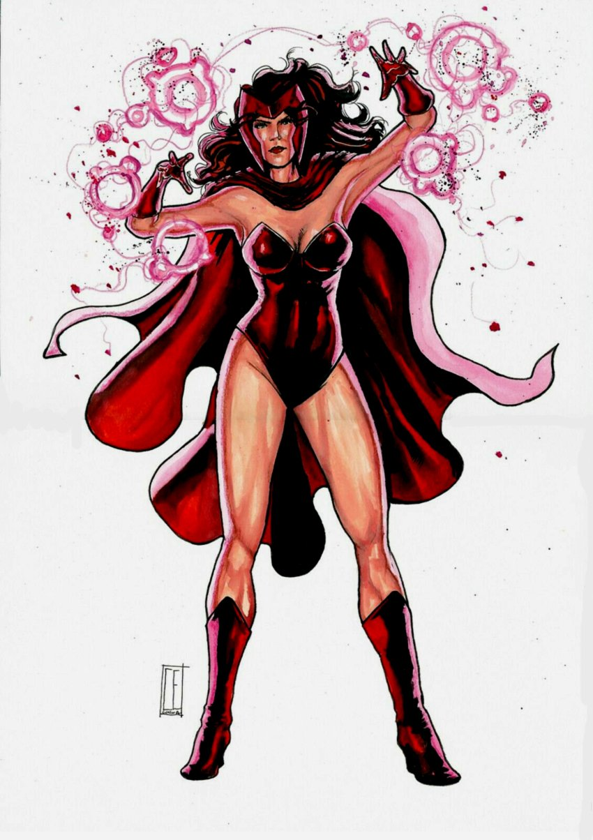Scarlet Witch Sexy Mixed Media Pinup