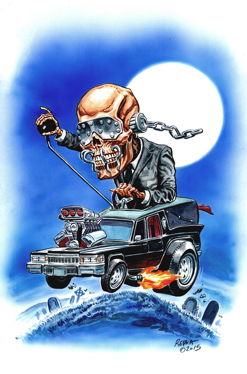 Big Daddy Roth Homage Hot Rod Skeleton Watercolor Pinup (2015)