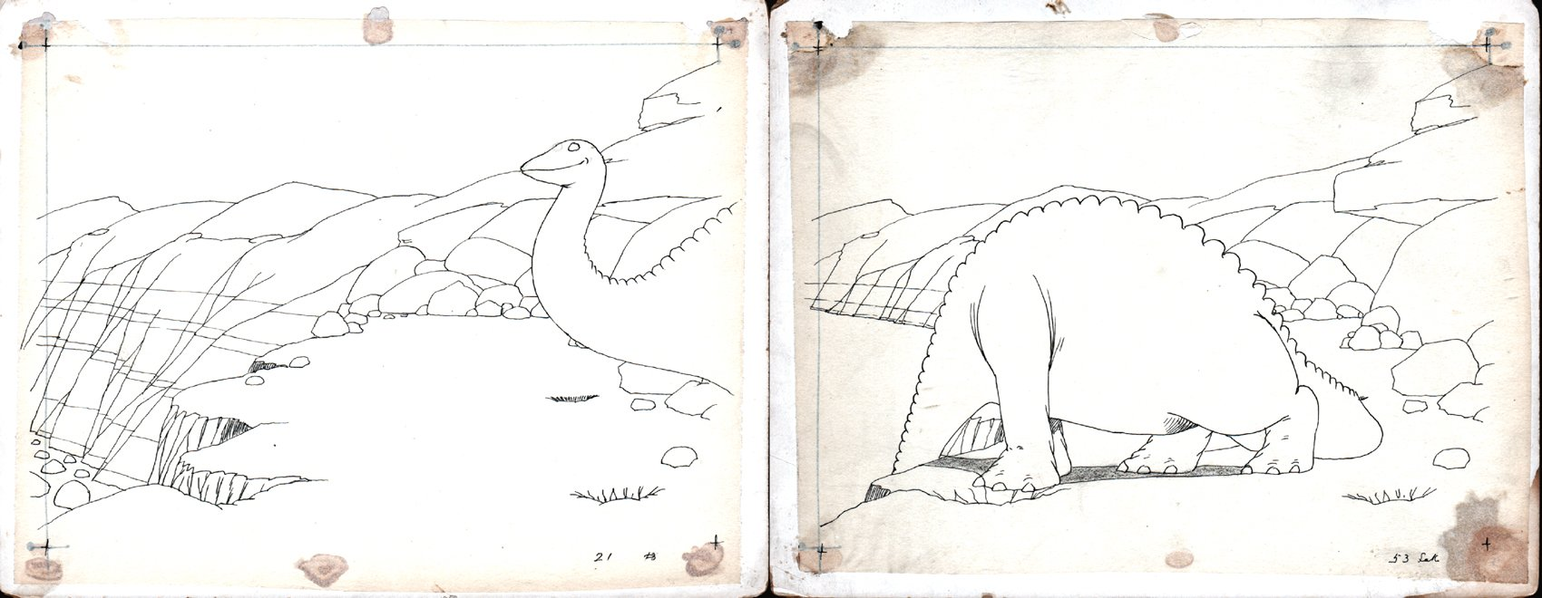 Winsor McCay 2 HISTORIC production drawings of 'Gertie the Dinosaur' (1914)