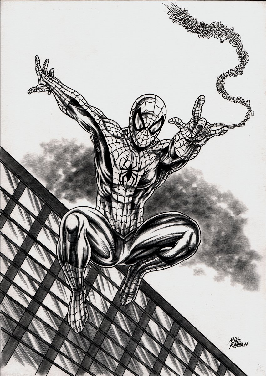 Spider-Man Leaping Mixed Media Pinup (2017)