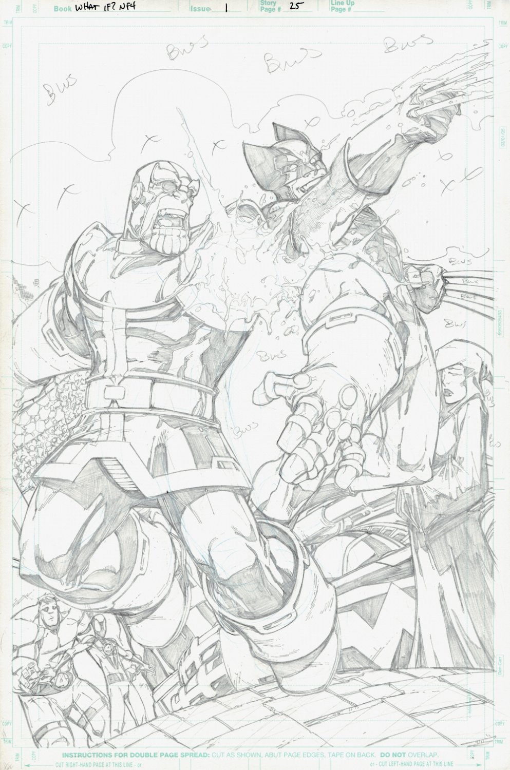 What If? Newer Fantastic Four #1 p 25 SPLASH (Wolverine Cuts Thanos's Infinity Gauntlet Arm Right Off!) 2008