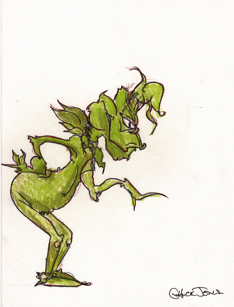 RARE Chuck Jones 'GRINCH' Penciled, Inked, Hand Colored Pinup