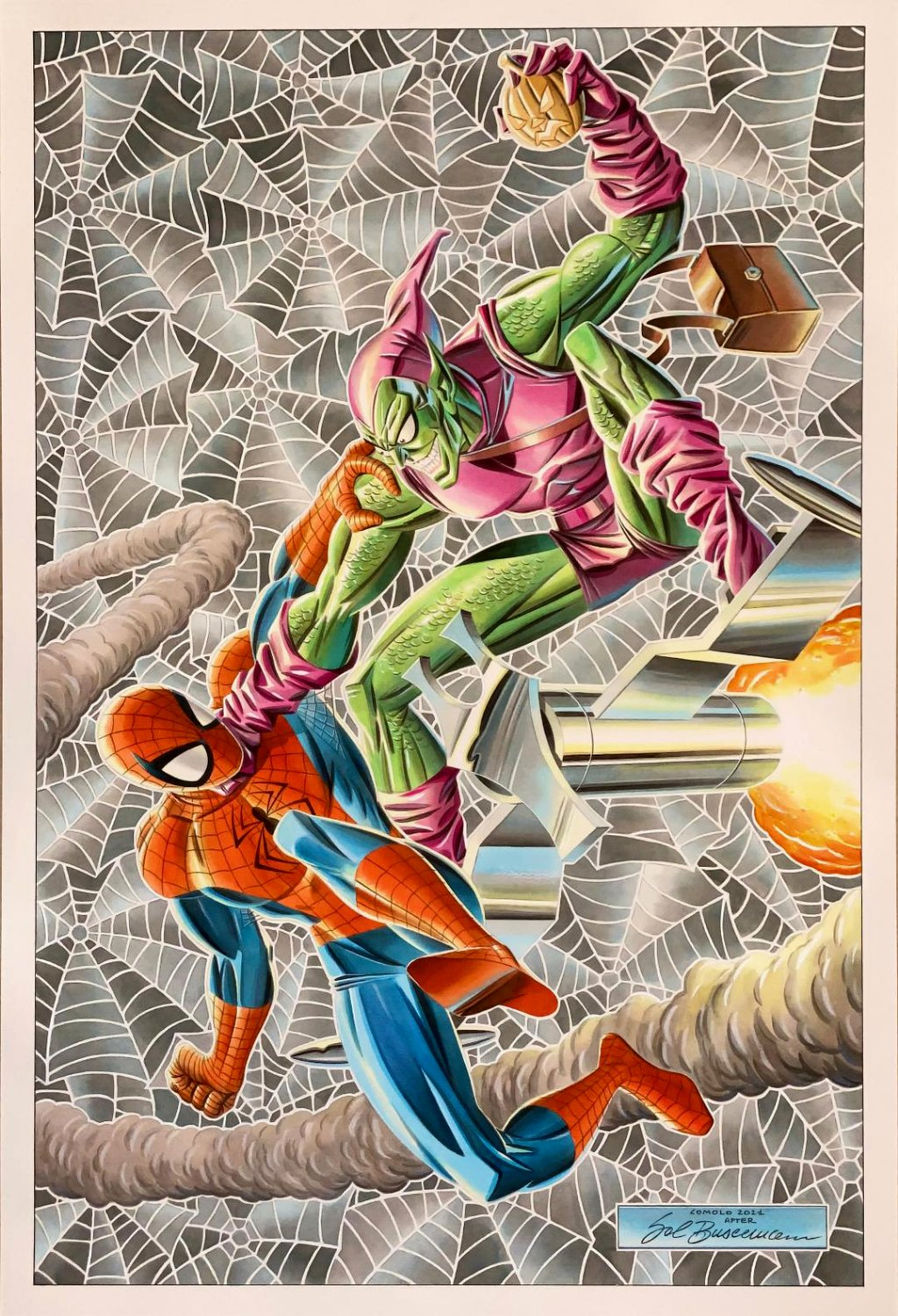 Spectacular Spider-Man #200 Large Painted Spidey / Green Goblin Battle Cover Recreation