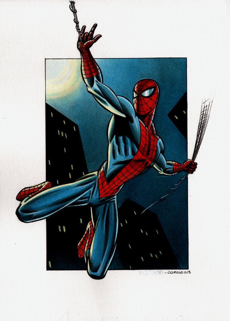 Spider-Man Hand Colored Pinup