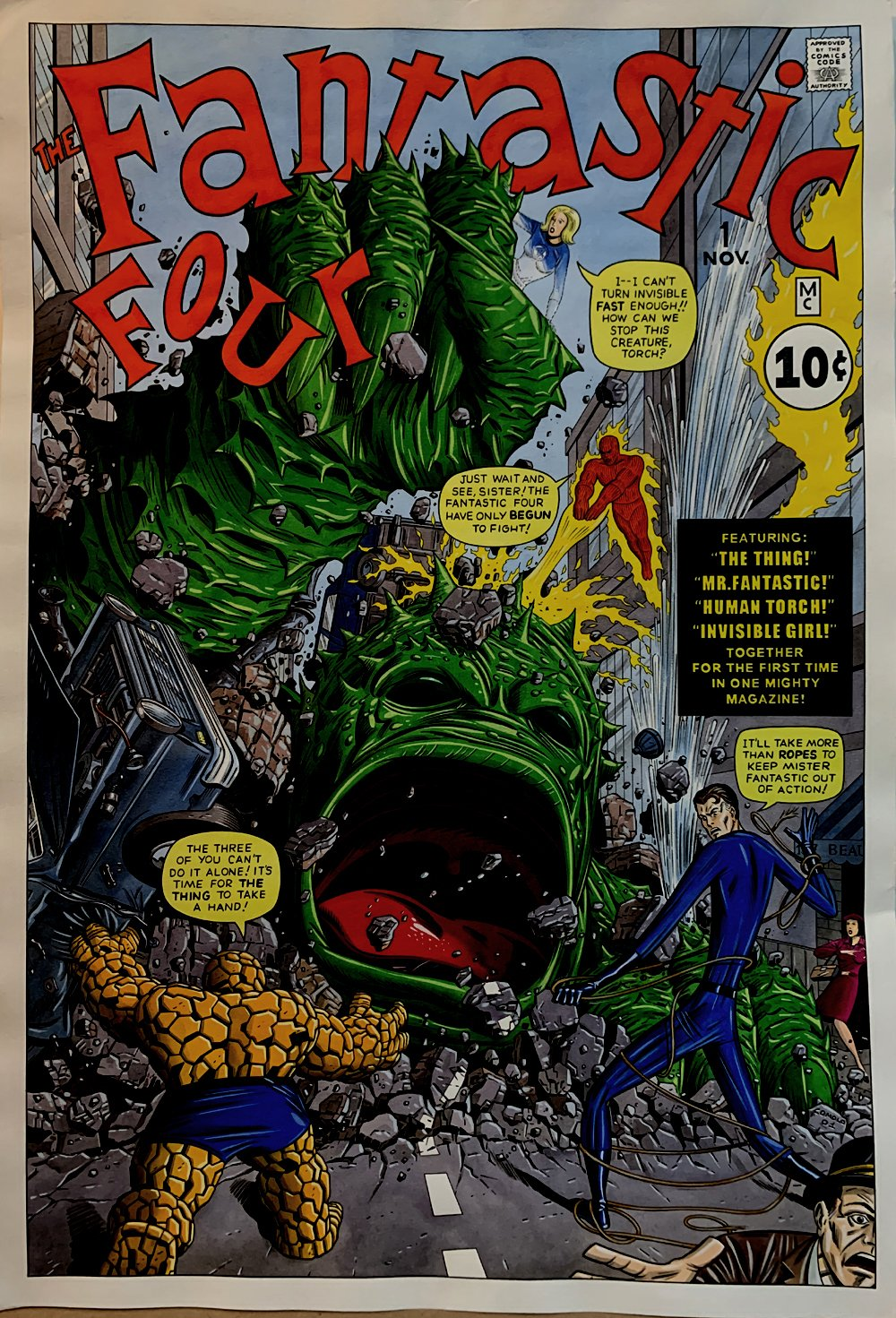 Fantastic Four #1 Incredibly Detailed HUGE Mixed Media Cover Re-Interpretation (2001)