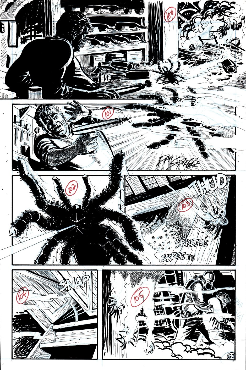 Arachnophobia #1 p 62 (CLIMAX OF STORY..BATTLING SPIDER HOARD!) 1990