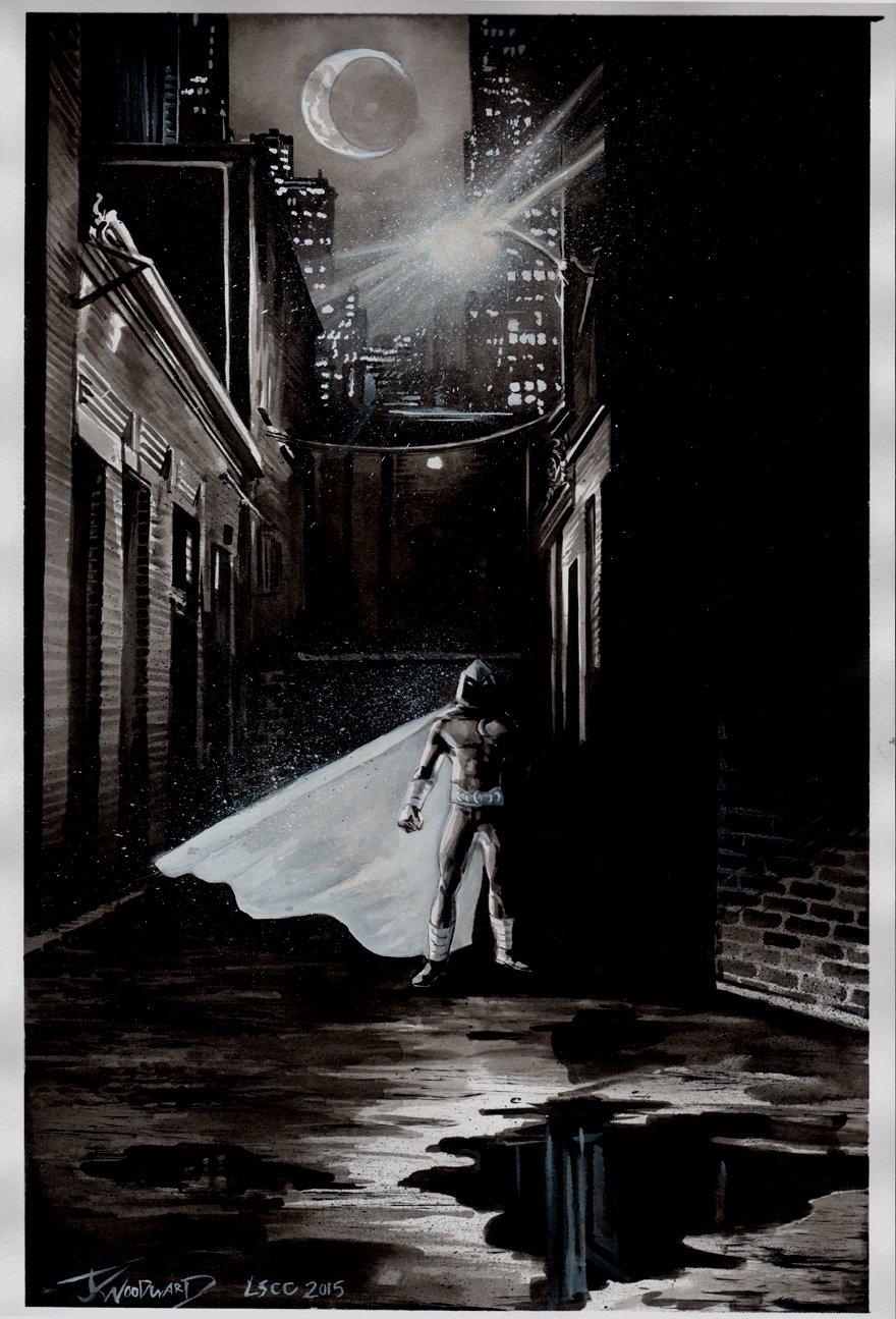 Beautiful Mixed Media Moon Knight Pinup (2015)
